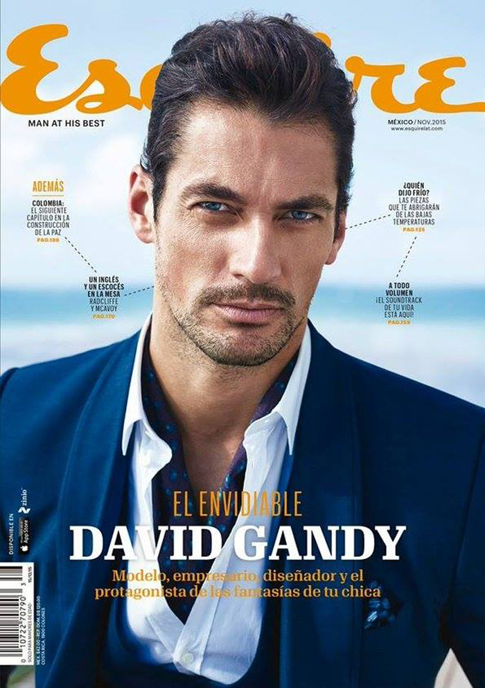 Photographed by John Russo, British model David Gandy covers the November 2015 issue of Esquire Mexico. David covers the issue in a sharp suit from Italian fashion house Dolce & Gabbana.