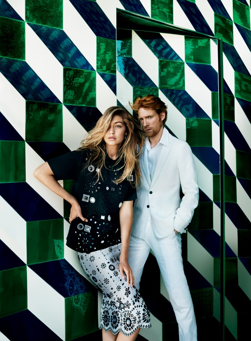 Domhnall Gleeson and Gigi Hadid pose for the lens of photographer Mario Testino.