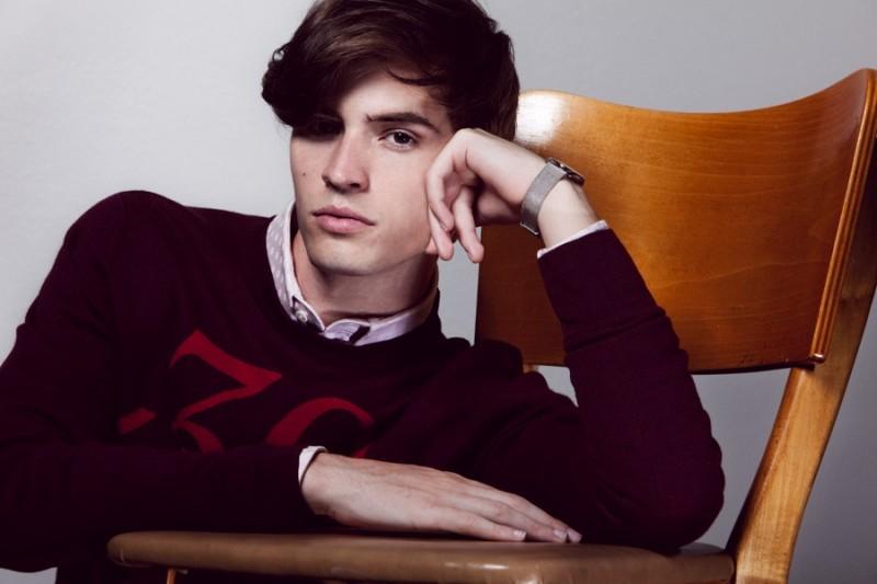 Taylor wears sweater Dior Homme, shirt Rafi & Olga and watch Skagen.