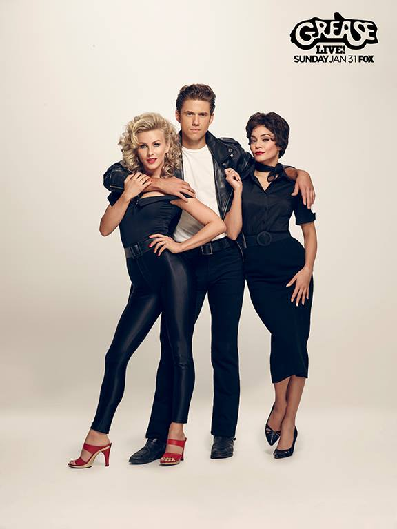 Grease Live: Julianne Hough as Sandy, Aaron Tveit as Danny and Vanessa Hudgens as Rizzo