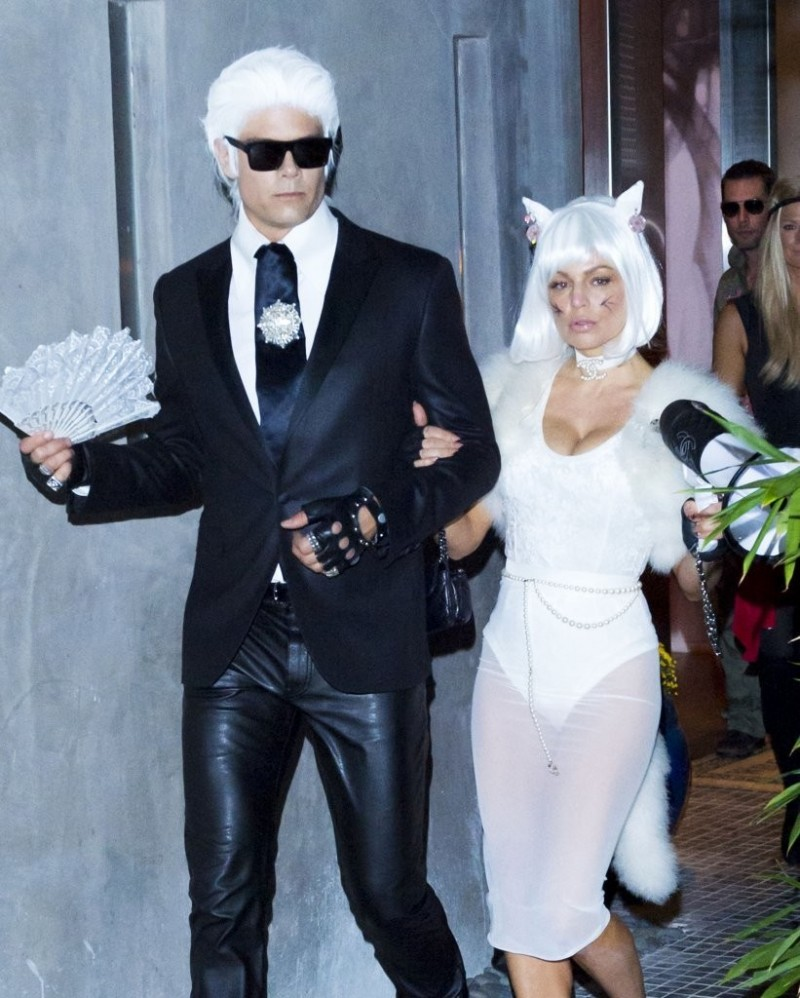 Josh Duhamel and Fergie are Karl Lagerfeld and his cat Choupette for Halloween.