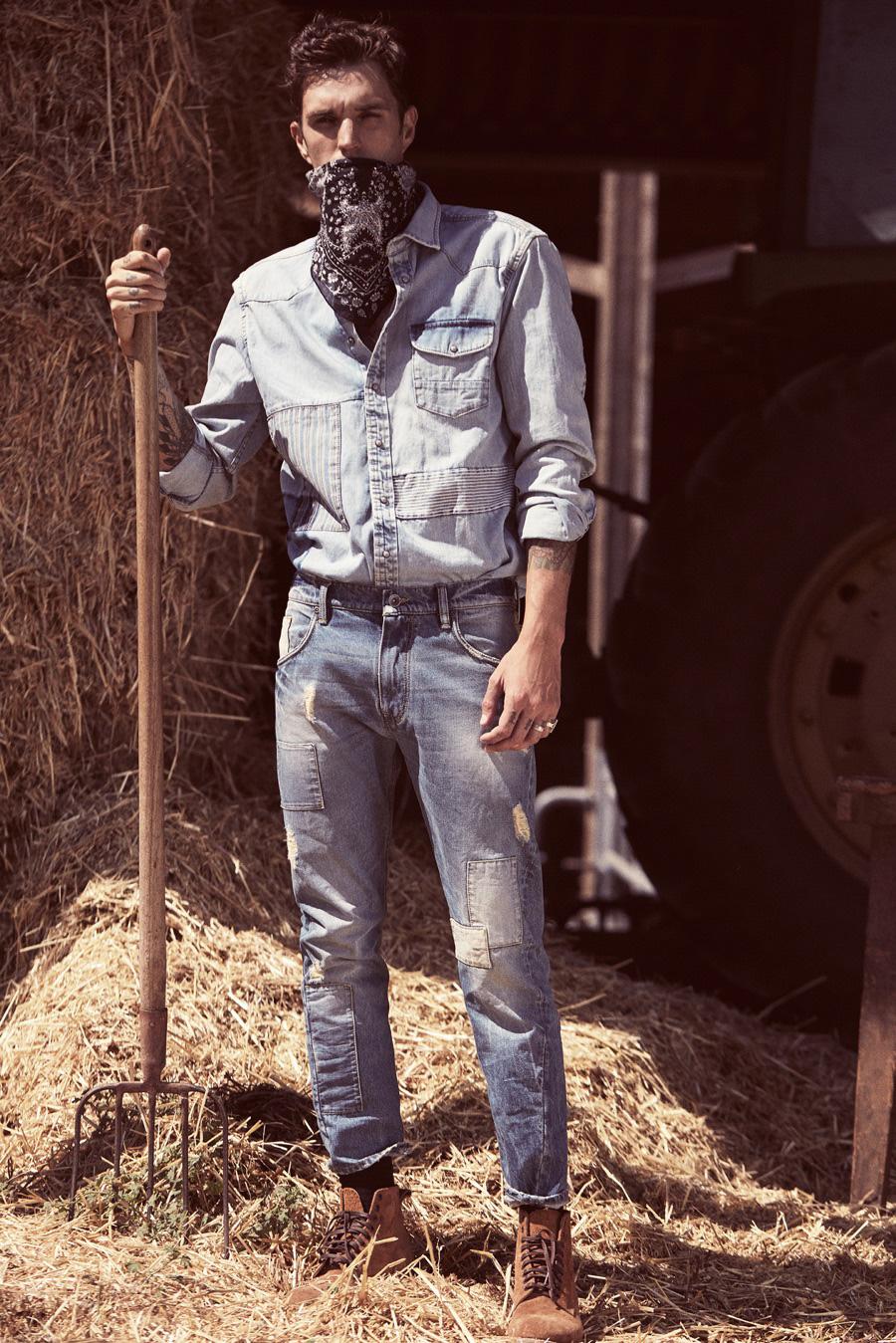 Josh Beech Has 70s Worker's Cool in Mango Man Blacksmith Denim