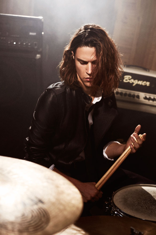 Model Miles McMillan is a drummer for Armani Exchange's winter 2015 campaign.