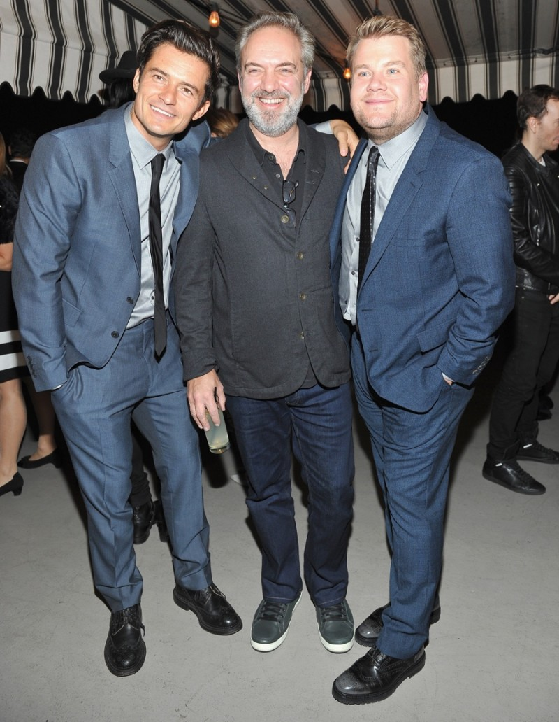 Orlando Bloom, Sam Mendes and James Corden in Burberry
