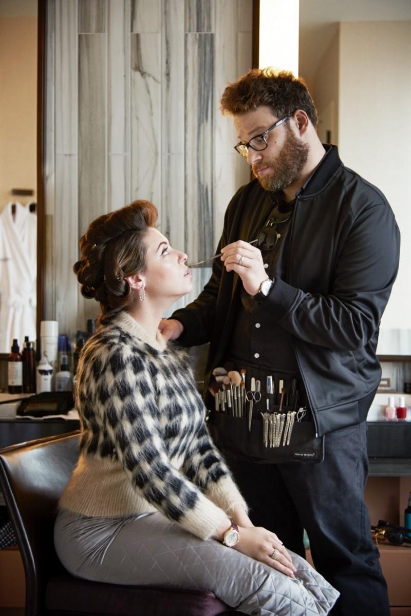 Artist & Muse: Seth Rogen turns makeup artist as he makes up his wife Lauren.