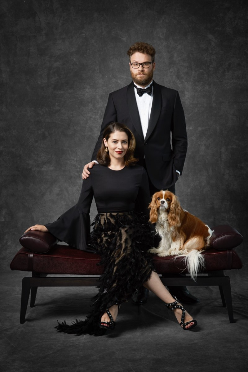 Seth Rogen and his wife Lauren pose for a formal portrait.