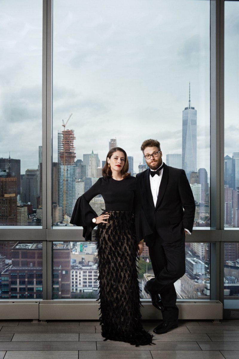 Seth Rogen and his wife Lauren photographed for Haute Living.