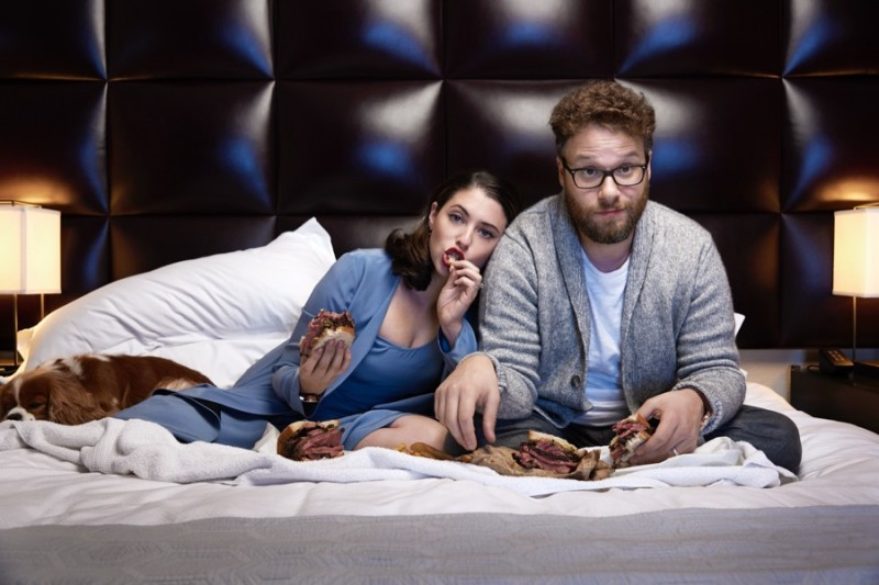 Seth Rogen and his wife Lauren eat pastrami sandwiches in bed.