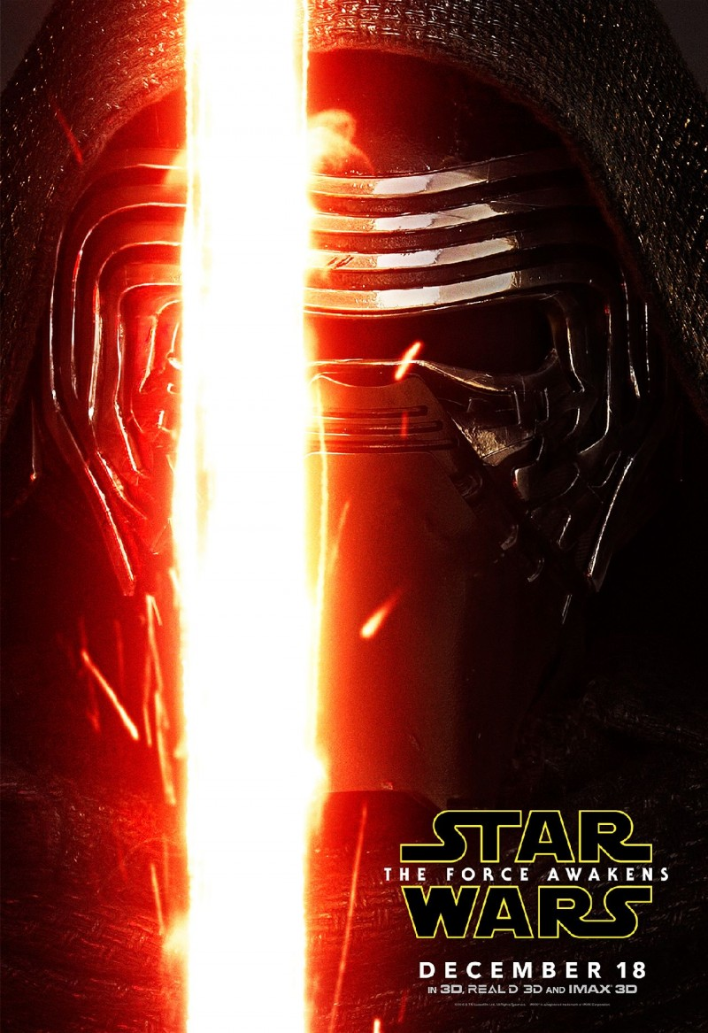 Star Wars: The Force Awakens Movie Poster Featuring Adam Driver as Kylo Ren