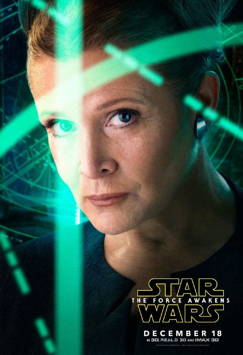 Star Wars: The Force Awakens Movie Poster Featuring Carrie Fisher as Leia