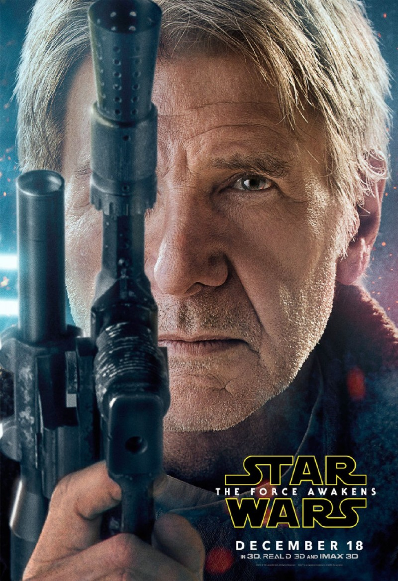 Star Wars: The Force Awakens Movie Poster Featuring Harrison Ford as Han Solo