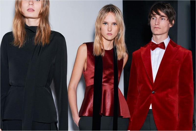 Zara makes a splash with its red velvet jacket.