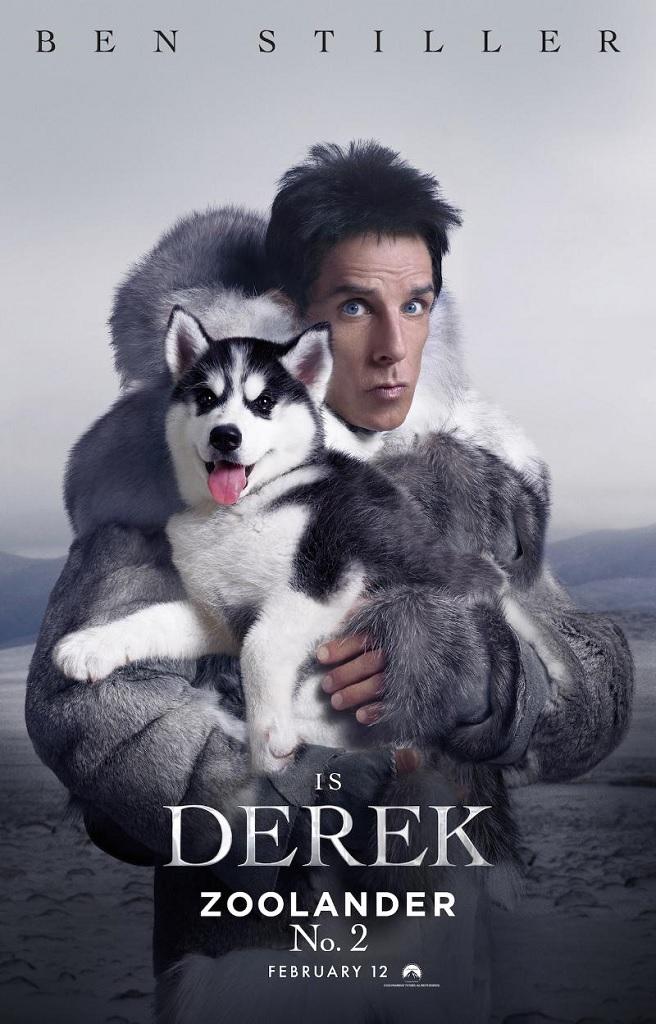 Derek Zoolander (Ben Stiller) embraces an over the top fur look for Zoolander 2 poster artwork.