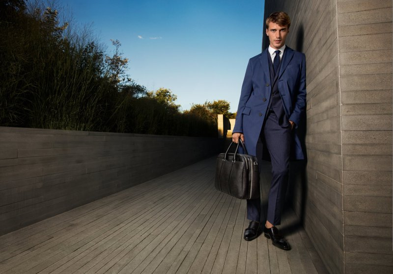 Clément Chabernaud is dapper in navy for BOSS by Hugo Boss' spring-summer 2016 campaign.