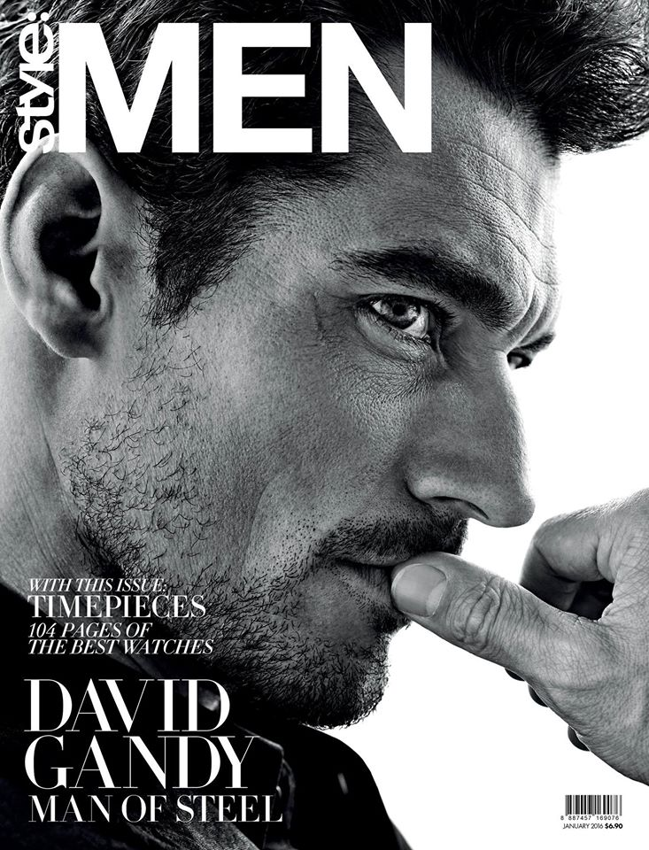 David Gandy covers the January 2016 issue of Style:Men.