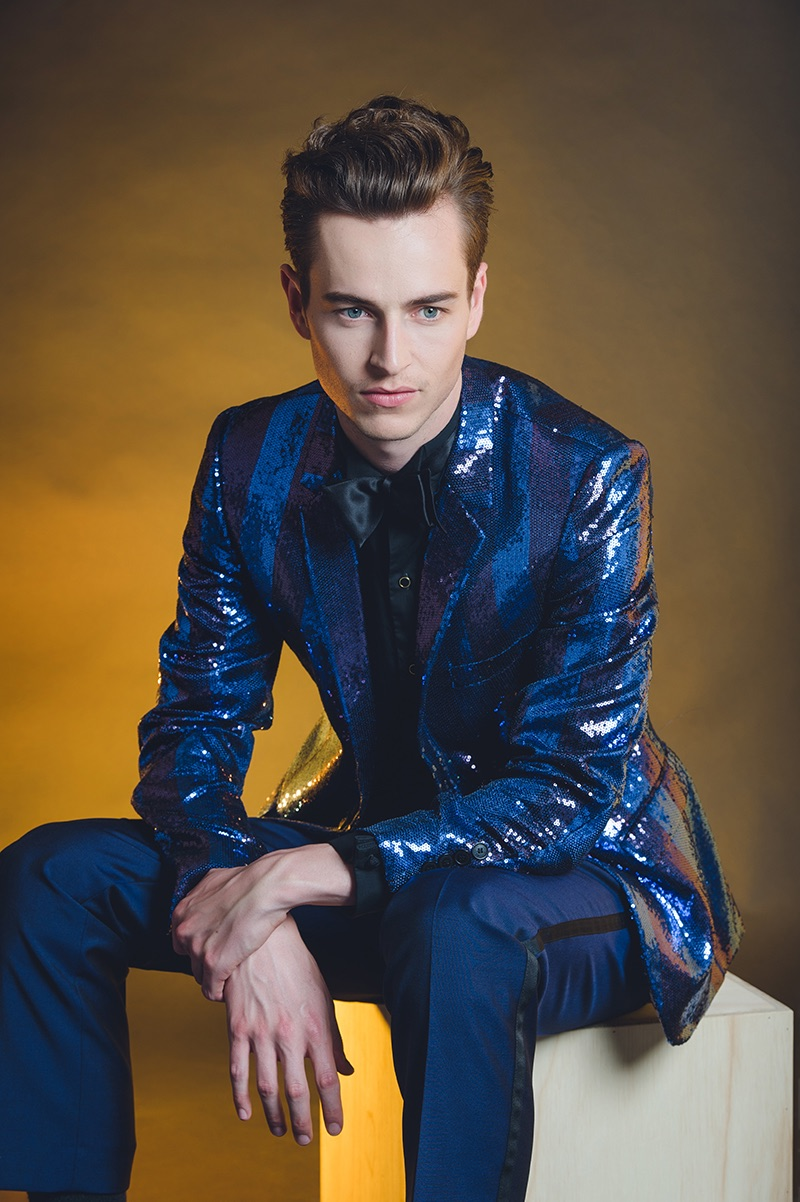 Joe wears sequined blazer Jack London, trousers Simon Carter, dress shirt and bow-tie Cal Downing.