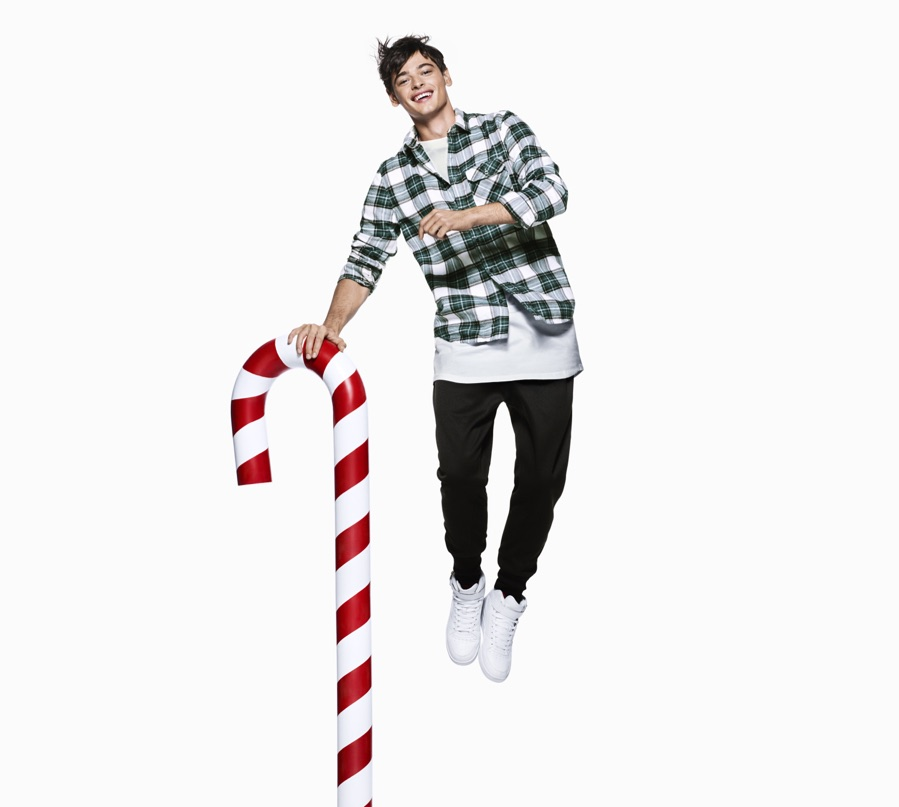 model jacob morton wears a trendy hm divided look with elongated proportions - Hm Christmas