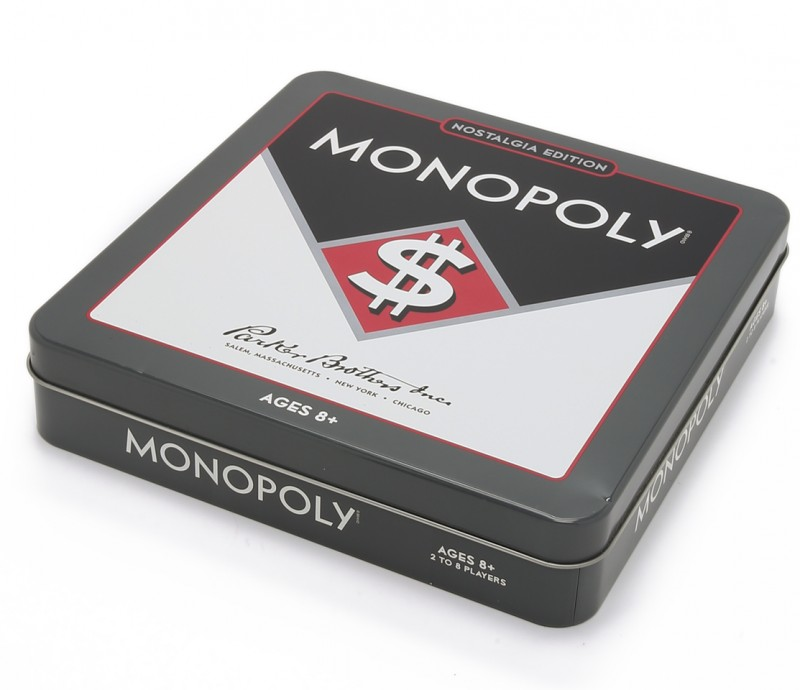 """Monopoly Nostalgia Edition $25: """"The classic banking game, Monopoly™, reissued in its original 1930s format. Full-size board. 8 die-cast tokens, wooden game pieces, vintage-inspired cards, and a built-in banker's tray. Tin box included."""""""