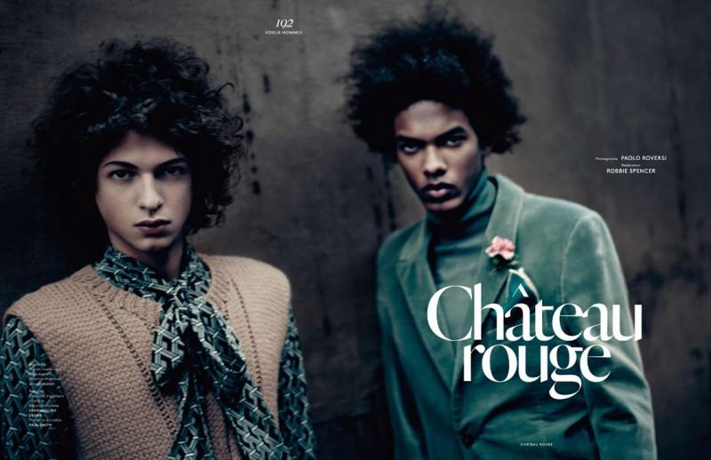Model Brandon Bailey in Ermenegildo Zegna and Paul Smith for Vogue Hommes Paris.