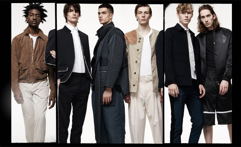 FROM LEFT: Suede jacket and slim-leg chino trousers, both by Dunhill; Crew-neck T-shirt, by Sunspel. Stand-collar raw-edge blazer, harness short-sleeved cotton-blend shirt and raw-edge tailored trousers, all by Alexander McQueen. Wide-strap quilted jacket and wide-leg quilted trousers, both by Craig Green. Suede-patch hunting jacket and pleat-front wide-leg trousers, both by J.W. Anderson. Patch-pocket cashmere jacket, lace cotton-poplin shirt and lace-trim tuxedo trousers, all by Burberry Prorsum. Logo-patch bomber jacket and knee-length shorts, both by Astrid Andersen.