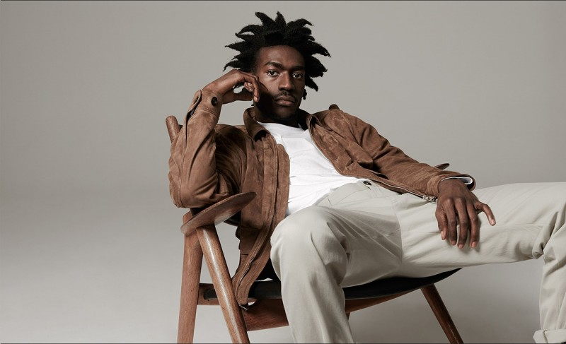 Suede jacket and slim-leg chino trousers, both by Dunhill. Crew-neck T-shirt by Sunspel.