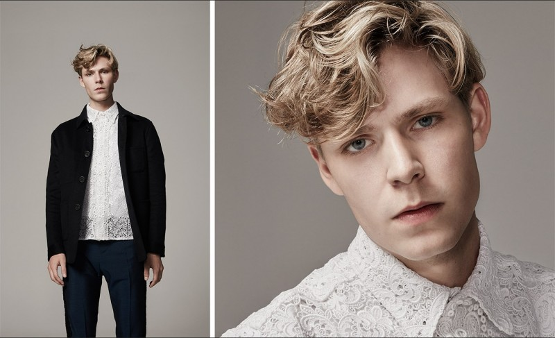 Patch-pocket cashmere jacket, lace cotton-poplin shirt and lace-trim tuxedo trousers, all by Burberry Prorsum.