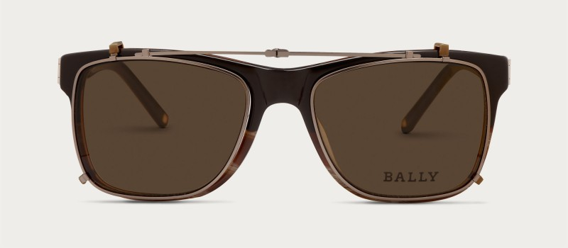 Bally Clip-On Lens Sunglasses in Brown and Gunmetal.