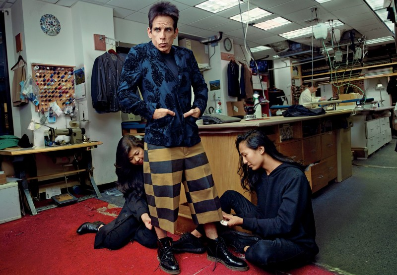 Derek Zoolander (Ben Stiller) takes part in a fitting with designer Alexander Wang.