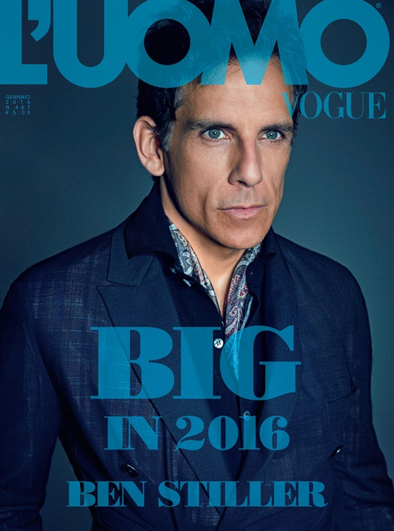 Ben Stiller covers the February 2016 issue of L'Uomo Vogue.