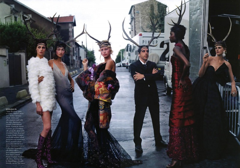 Photographed by Annie Leibovitz, Ben Stiller poses with top models for Vogue.
