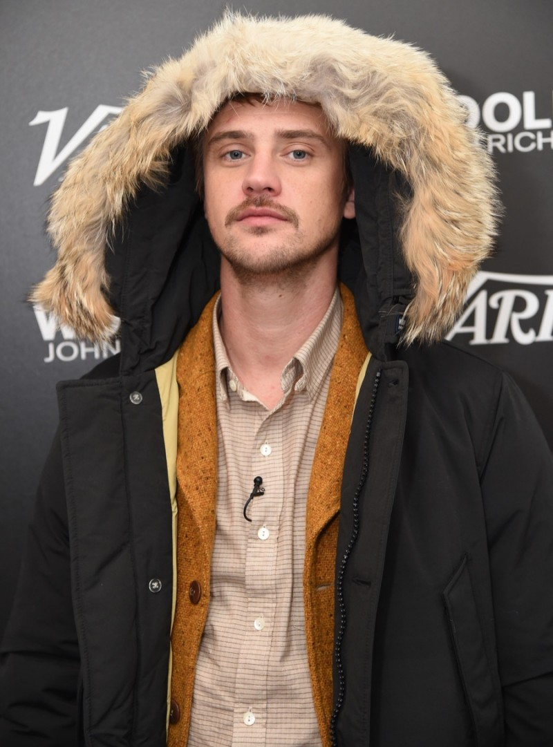 Boyd Holbrook poses for a photo in Woolrich John Rich & Bros. at the 2016 Sundance Film Festival.