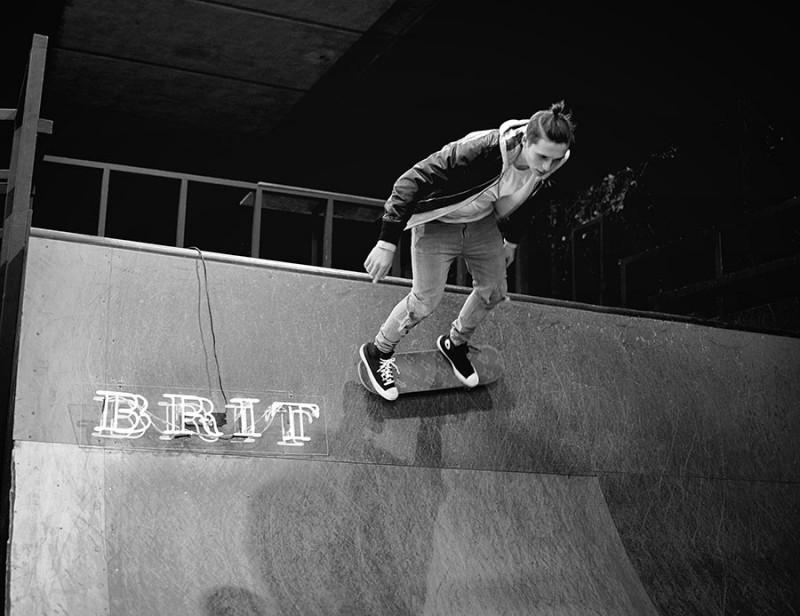 Brooklyn Beckham captured behind the scenes skateboarding.