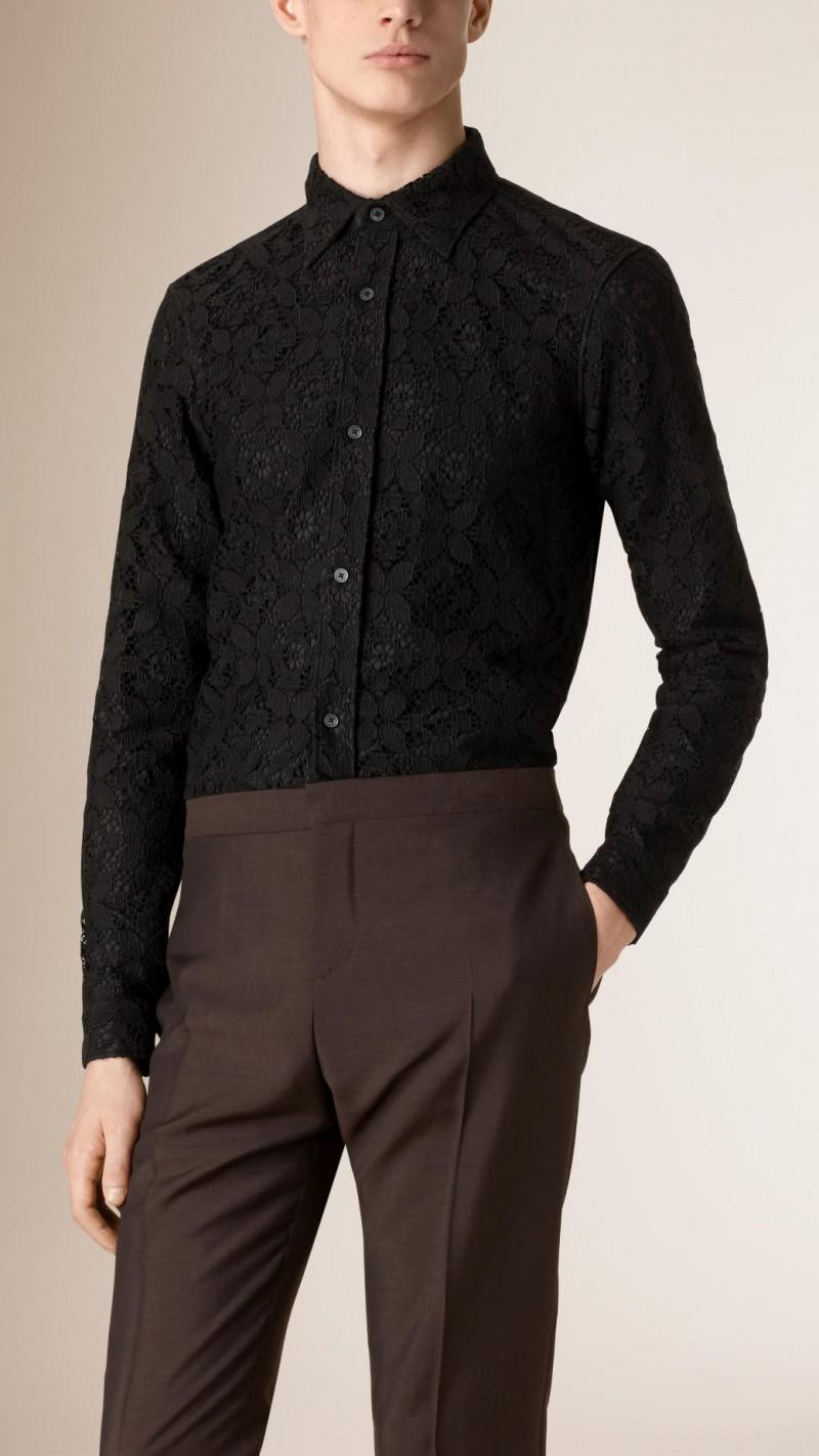 Burberry Slim-Fit Italian Lace Shirt in Black