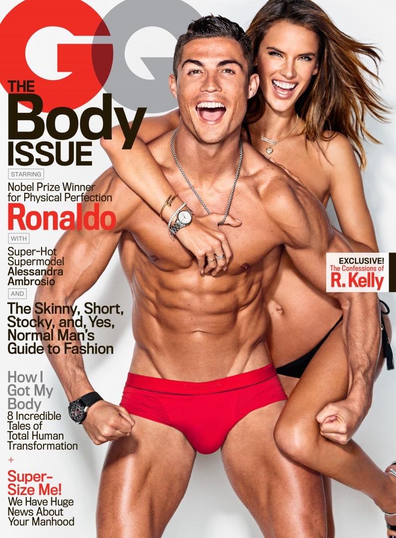Cristiano Ronaldo and Alessandra Ambrosio cover American GQ.
