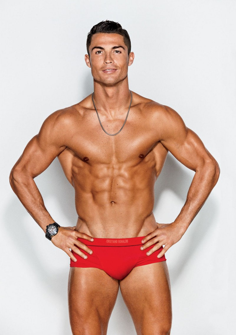 Photographed by Ben Watts, Cristiano Ronaldo poses in a red swimsuit for GQ.