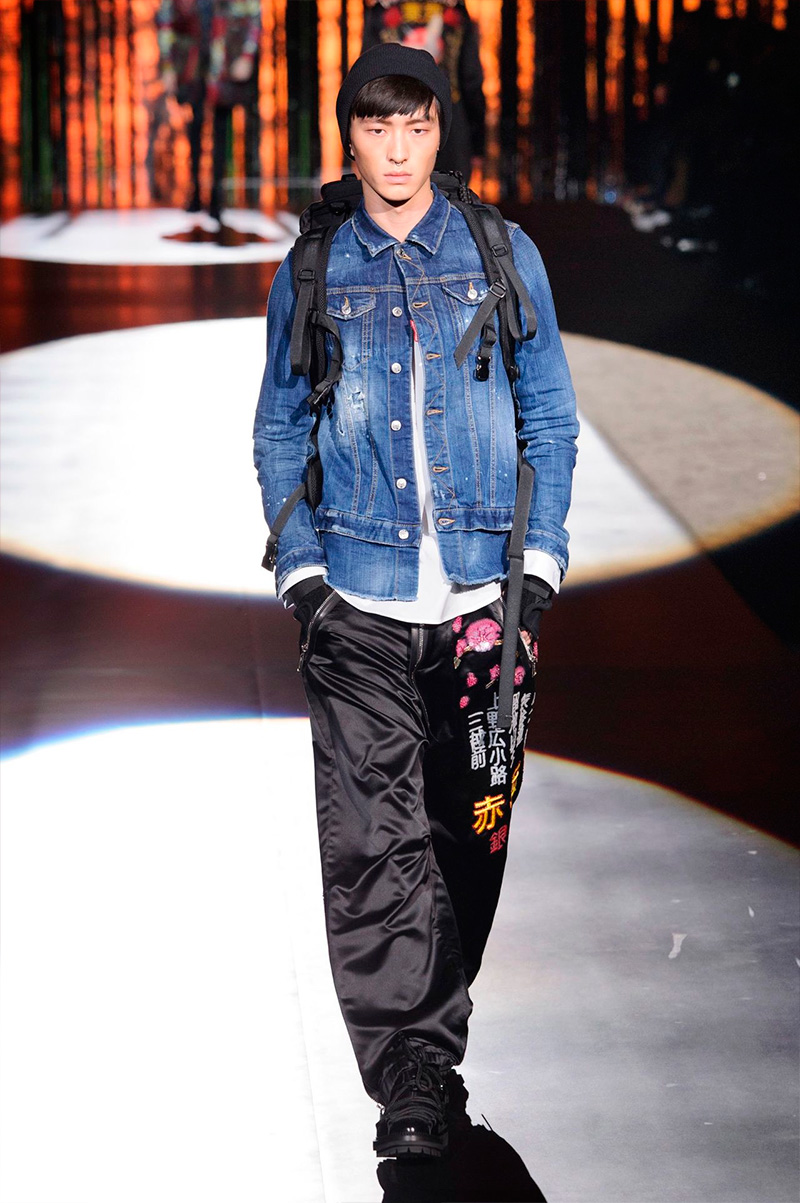Dsquared2 brings denim into its Tokyo inspired style narrative for fall-winter 2016.