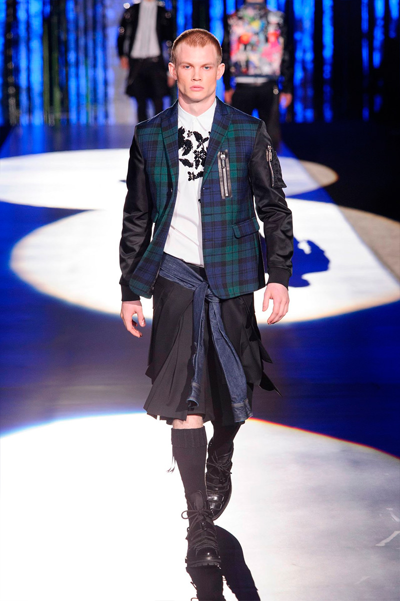Dsquared2 embraces tartan with a rocker's edge for fall-winter 2016.
