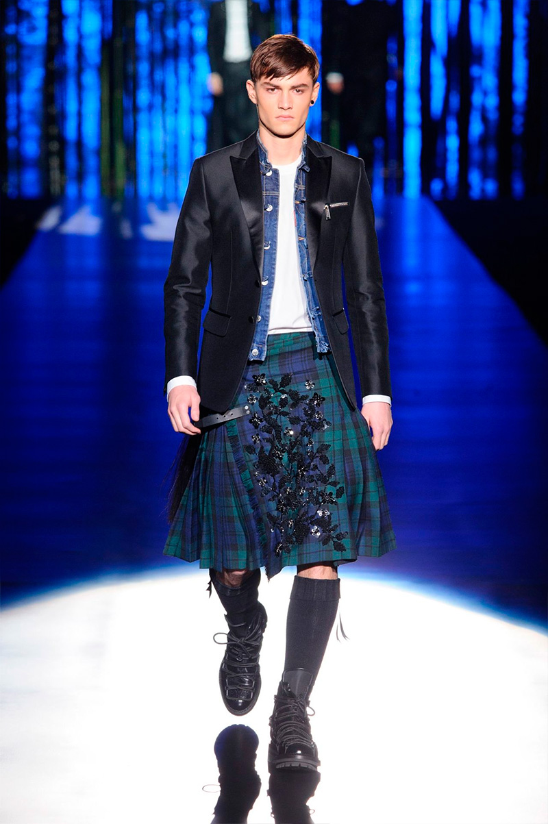 Dsquared2 has fun with skirts and tartan for a playful fall-winter 2016.