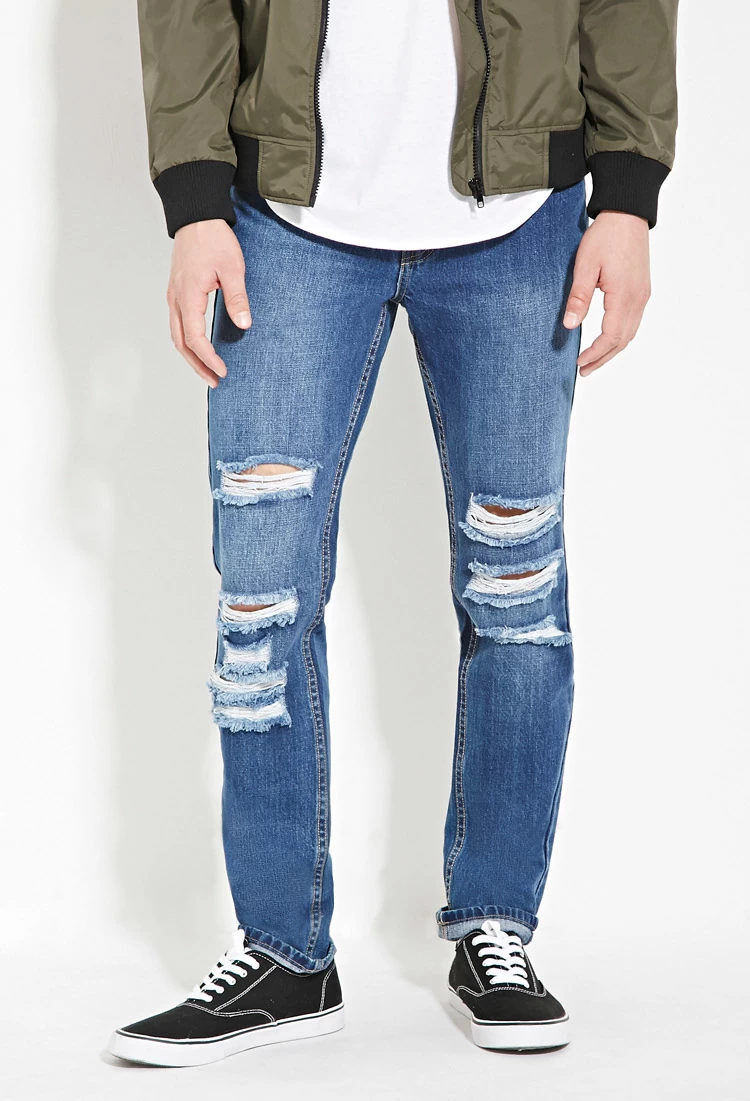 Forever 21 Distressed Slim-Fit Ripped Denim Jeans