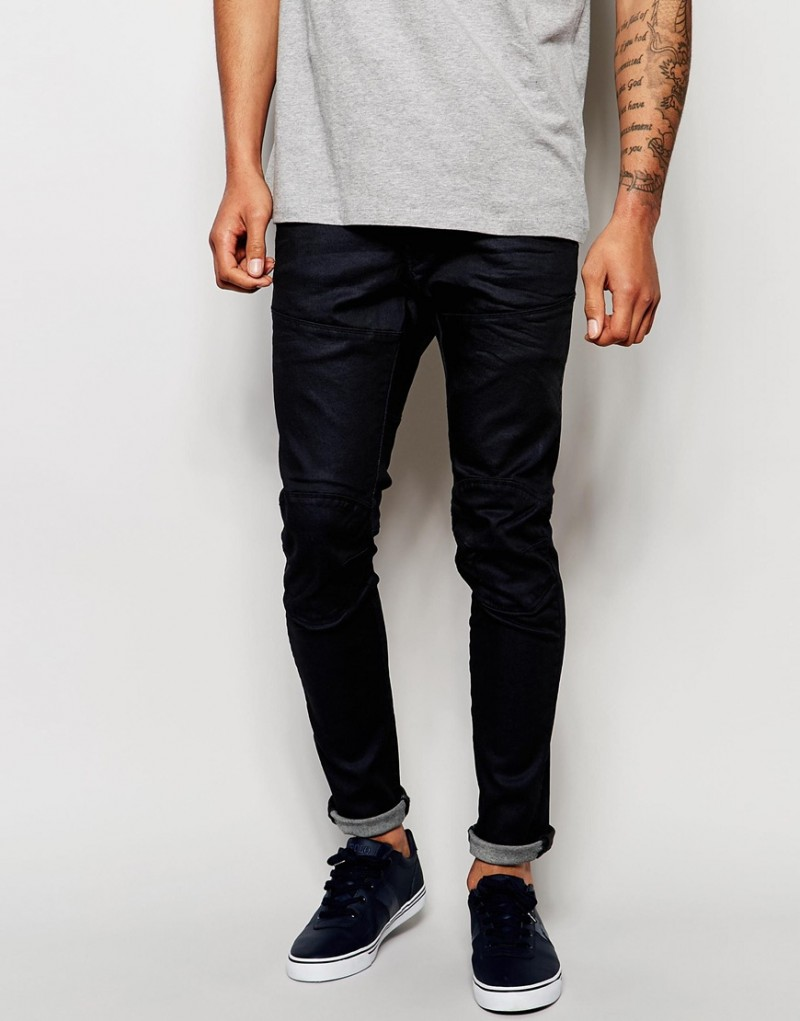 G-Star Elwood 5620 Super Slim Fit Stretch Jeans in Overdye Blue.