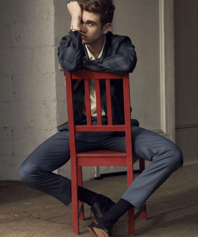 Gabriel-Kane Day-Lewis wears shirt Louis Vuitton, shoes Church's, jacket and trousers Brioni.