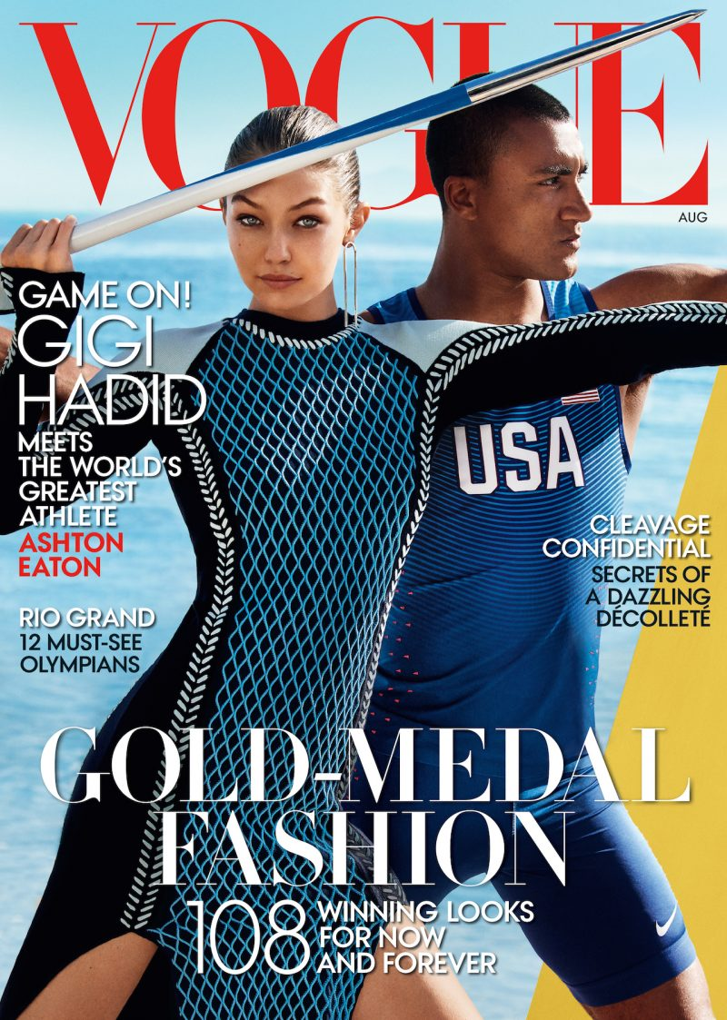 Gigi Hadid and Olympian athlete Ashton Eaton cover the August 2016 issue of Vogue.