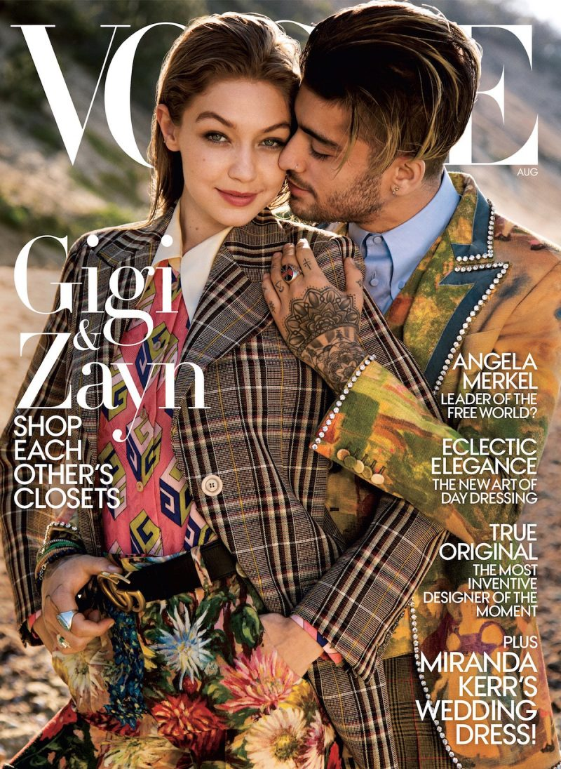 Gigi Hadid and boyfriend Zayn Malik cover the August 2017 issue of Vogue.