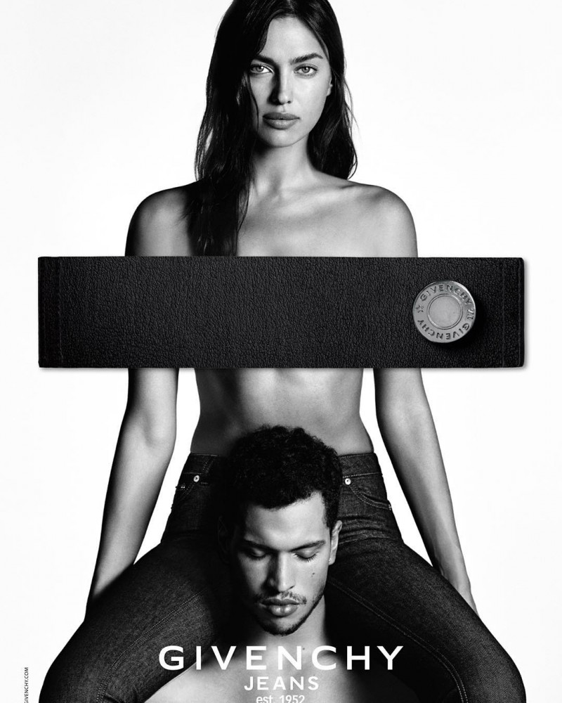 Model Irina Shayk and Chris Moore for Givenchy Jeans' spring-summer 2016 campaign.