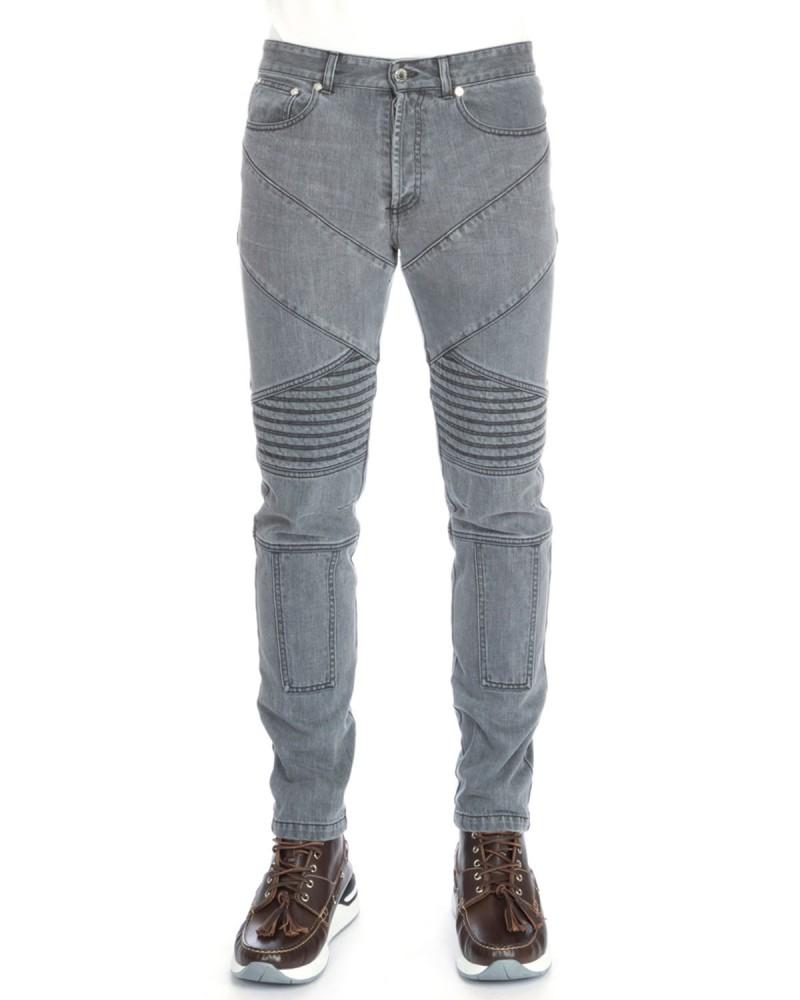 Givenchy Slim-Fit Moto Denim Jeans in Grey