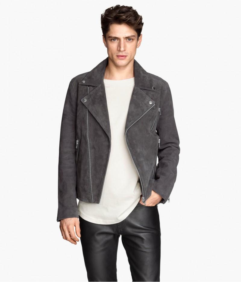 H&m men leather jacket