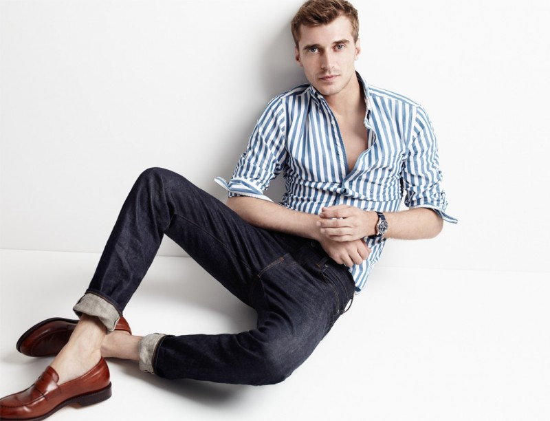 Clément Chabernaud wears slim secret wash shirt in Brunswick Stripe, 770 Selvedge Jeans in Fairfax Wash, Ludlow Penny Loafers and Timex for J.Crew Andros Watch, all from J.Crew.