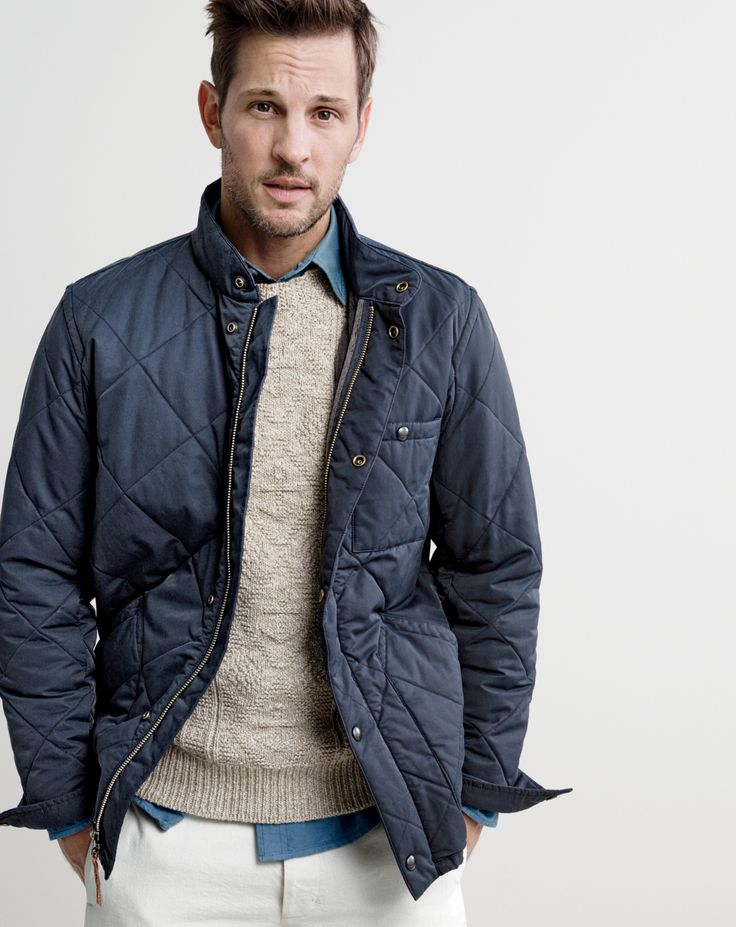 J.Crew men's Sussex quilted jacket, marled cotton anchor-knit sweater, slim lightweight garment-dyed oxford shirt and Wallace & Barnes selvedge chino in natural Japanese cotton.