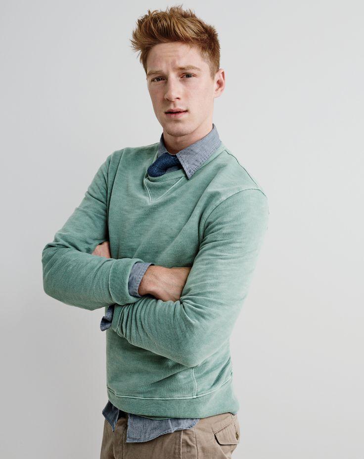 J.Crew men's garment-dyed sweatshirt, lightweight cotton shirt, Italian silk knit tie and Wallace & Barnes chino in Italian twill.
