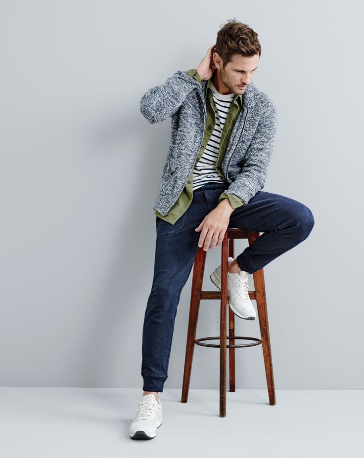 J.Crew men's marled cotton full-zip sweater, Wallace & Barnes military field shirt, long-sleeve deck stripe T-shirt, utility jogger in cotton jersey and Onitsuka Tiger® Tiger Alliance™ sneakers.